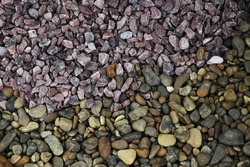 Background of several types of colored stones. Abstract texture of colorful stones collection