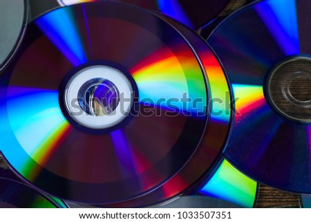 Background of shiny compact discs #1033507351