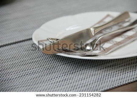 Background of silverware on plate mate