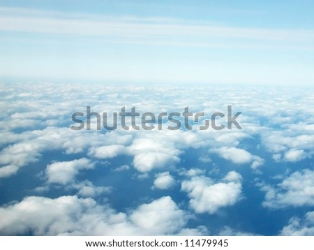 Background of sky with cloud puffs aerial view