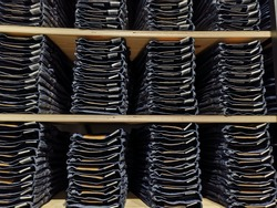 Background of stack jeans at the outlet
