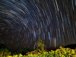 Background of star trails is beautiful in nature.