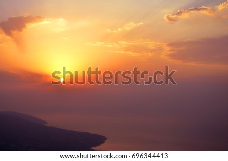 Background of sunrice im mountains in morning, Crimea, Ay Petry #696344413