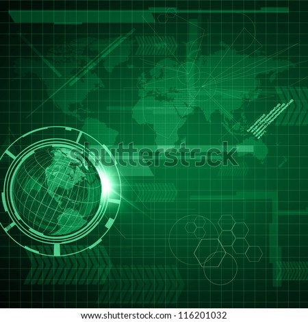 Background of Technology with earth globe - stock photo
