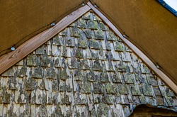 Background of textures and angles  on the tarpaulin covered roof line of an abandoned weathered cabin in the woods.