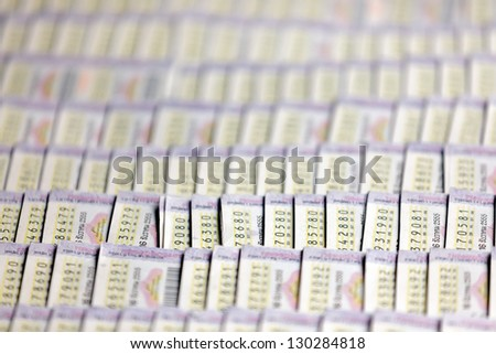 Background of Thai lottery ticket, shallow depth of field