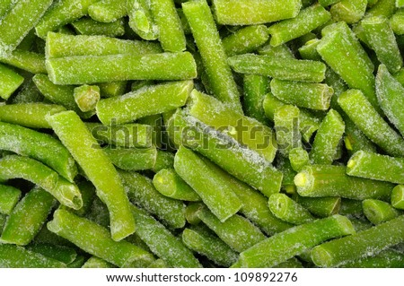 Background of the cut frozen green beans