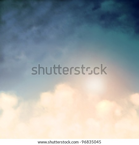 Background of the sun and clouds in a blue sky