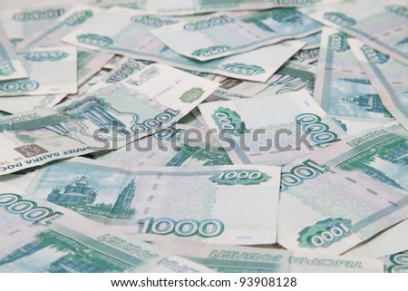 Background of thousand russian roubles bills, close-up
