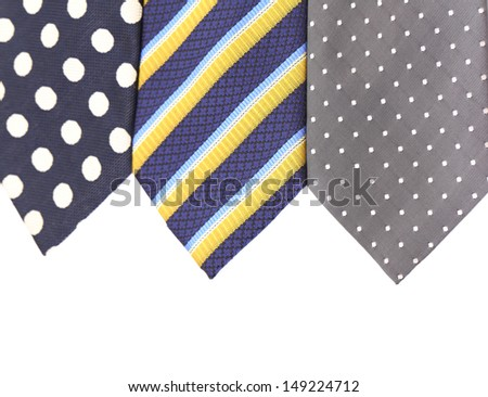 Background of three  multi-colored tie.