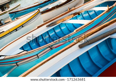 Background of  traditional wooden boats in the harbor at Marina Grande - Capri, Italy. #171263681