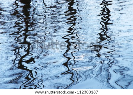 Background of trees mirrored on rippled water surface