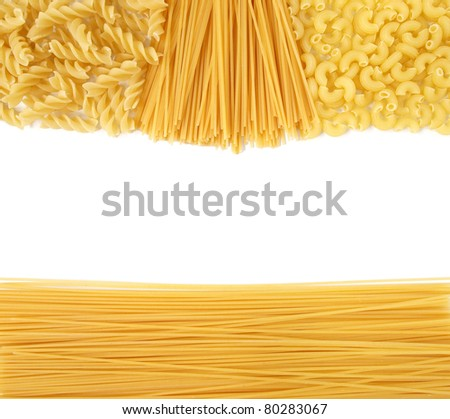 Background of uncooked Italian pasta Spaghetti, Fusili and Macaroni ...
