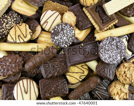 background of various delicious belgian pastry cookies