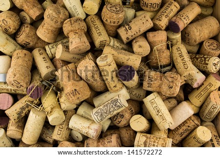 Background of Various Used Wine Corks close up