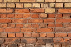 Background of very old red brick wall, close-up ancient texture. Very Old red brick wall background texture.