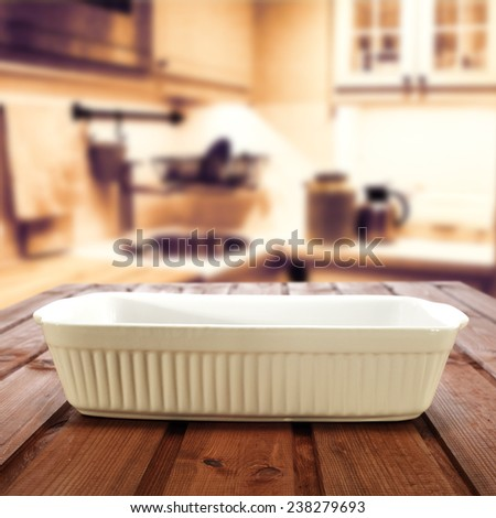 background of vintage kitchen interior and plate space