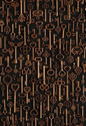 Background of vintage victorian style bronze skeleton keys. Concepts of keys to success, unlocking potential, or security solutions.
