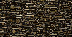 Background of vintage victorian style gold skeleton keys. Concepts of keys to success, unlocking potential, or security solutions.