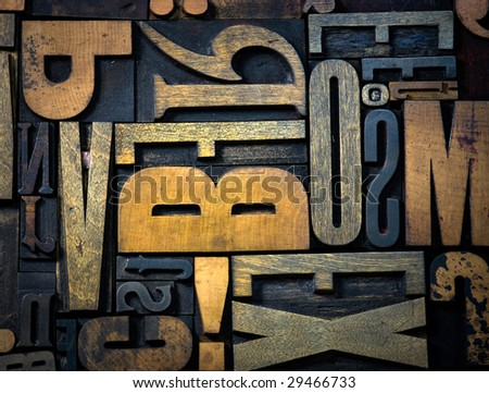 Background of vintage wooden print letter cases - stock photo