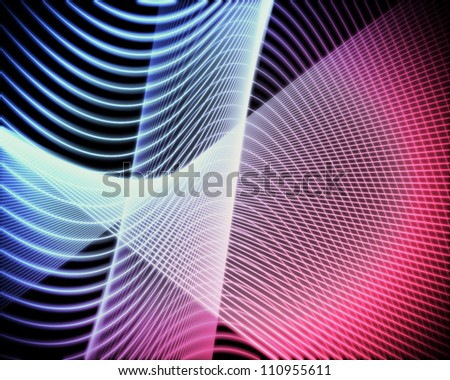 Background of volute of blue and pink lines
