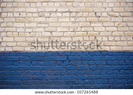 Background of white and blue brick wall texture