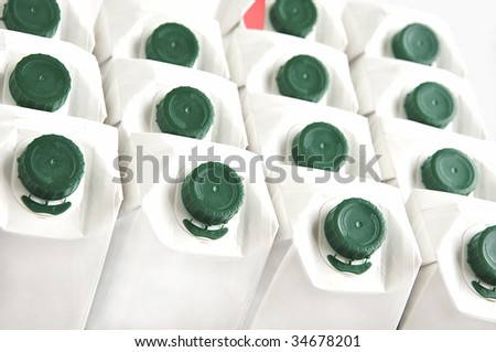 Background of white milk cartons.