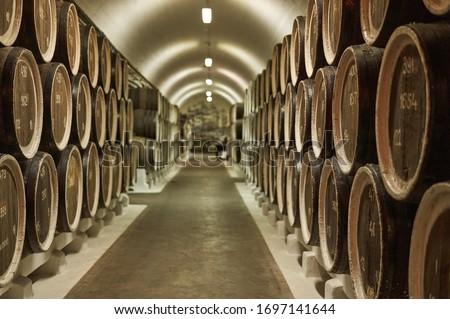 Background of wine barrels in wine-vaults. Mixed media. Interior of wine vault with wooden barrels. Imagine de stoc ©