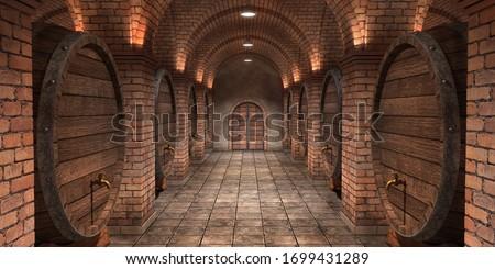 Background of wine barrels in wine-vaults. Mixed media. Interior of wine vault with wooden barrels. -3d rendering. - Illustration. Imagine de stoc ©