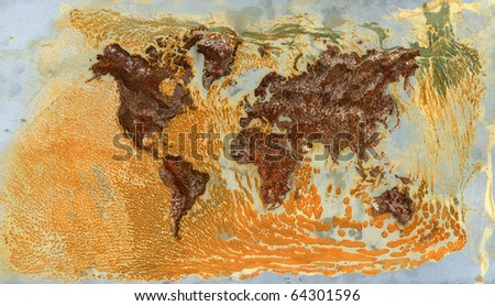 background of world map made of real rust on steel plate