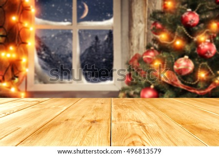 background of xmas time and xmas tree with window of winter  #496813579