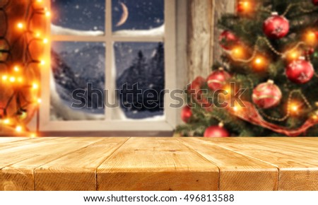 background of xmas time and xmas tree with window of winter  #496813588