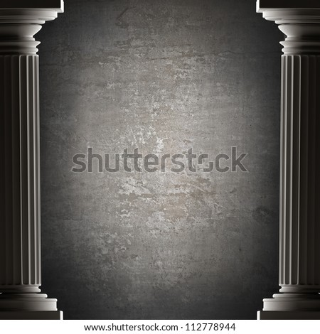 background Old columns is ancient style. Realistic 3D High resolution