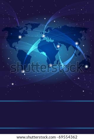 Background - Optical Fibers, World Map and Stars on Dark Blue Background