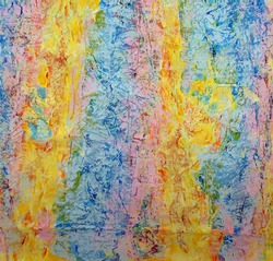 Background or backdrop, abstract pattern and texture. Light pastel shades, tones or hue of blue, pink, yellow and orange. Emulsion and acrylic paint randomly applied and blended on canvas