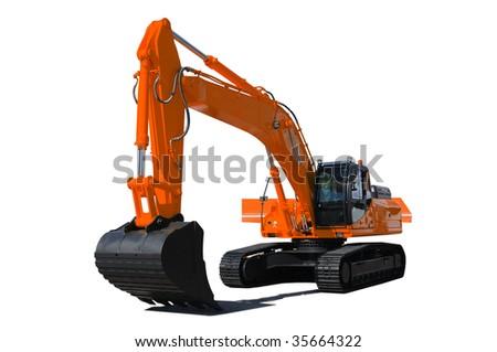 Background. Orange bulldozer