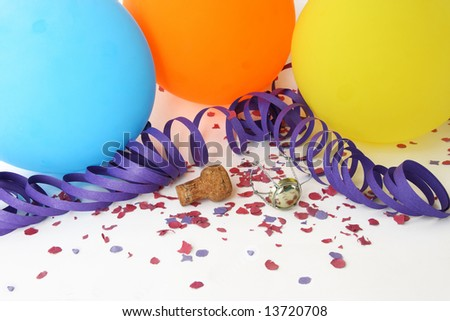Background party with colorful balloons, confetti and champagne cork - stock photo