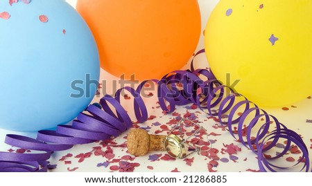 Background party with colorful balloons, confetti and champagne cork