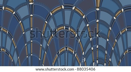 Background pattern of blue arch shapes
