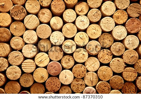Background pattern of wine bottles corks