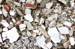 Background Pattern, Pile of Demolished Concrete Rubble Debris on Building Waste Clearance Construction Site.