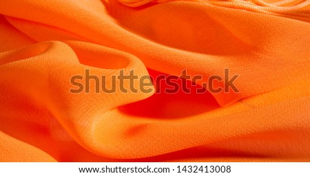 background, pattern, texture, Orange silk fabric has a brilliant luster. It folds into soft folds when draping and is the most versatile fabric. Be creative with beautiful accents of your design. #1432413008