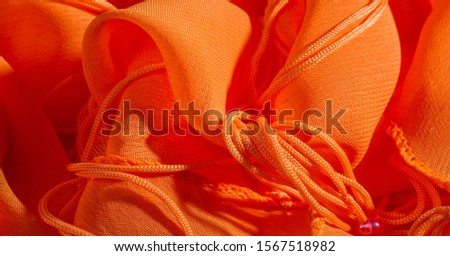 background, pattern, texture, Orange silk fabric has a brilliant luster. It folds into soft folds when draping and is the most versatile fabric. Be creative with beautiful accents of your design. #1567518982