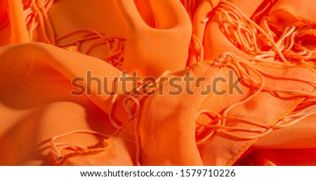 background, pattern, texture, Orange silk fabric has a brilliant luster. It folds into soft folds when draping and is the most versatile fabric. Be creative with beautiful accents of your design. #1579710226