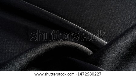 Background, pattern, texture, wallpaper, black silk fabric.  Add a touch of luxury to any design, putting it in this ultra-soft and very lightweight polyester lining fabric. #1472580227