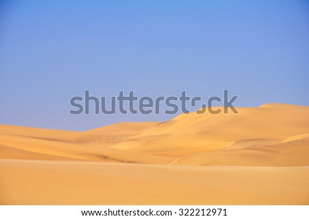 Background Picture of the Beautiful Desert Landscape over a Clear Blue Sky, Angola, Southern Africa