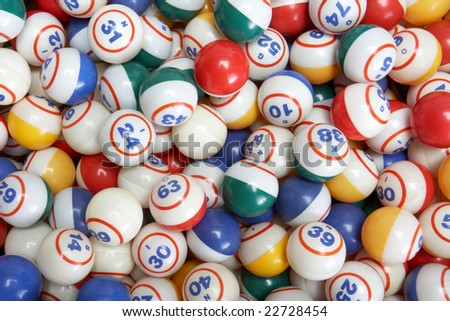 Background pile of many colored bingo balls