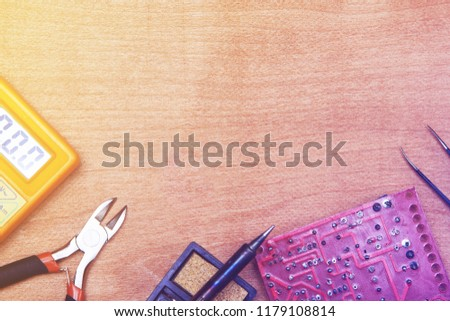 background, radio engineer or amateur radio tools, electronics repai, toned, shallow depth of field #1179108814