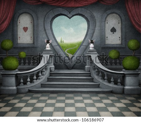 Background room with  door in shape of heart. Computer Graphics. - stock photo