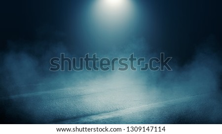Background scene of empty street. Night view of the river, the night sky with clouds, a reflection of light on the asphalt. Smoke fog #1309147114